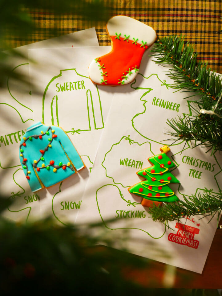 Christmas cookie cutouts with Christmas cookies